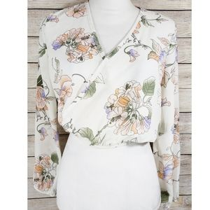 Olive Tree Front Wrap Floral Semi Sheer Blouse